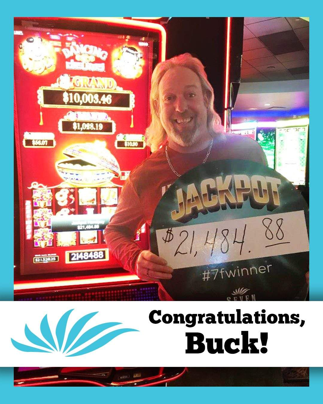 Buck Won A Huge Jackpot On Dancing Drums At Seven Feathers Casino Resort In Canyonville Oregon